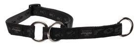 Rogz Large Alpinist K2 Web Half-Check Dog Collar - 20mm Black