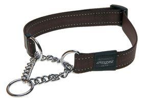 Rogz - Utility Lumberjack Obedience Half-Check Dog Collar - Extra-Large 2.5cm - Chocolate Reflective
