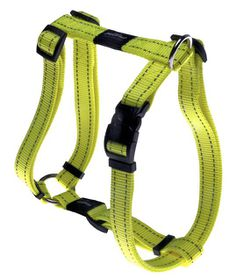 Rogz - Utility Fanbelt Dog H-Harness - Large 2cm - Yellow Reflective