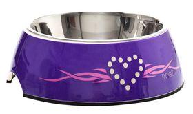 Rogz - 2-in-1 Bubble Dog Bowl - Extra-Large - 1400ml Purple Chrome