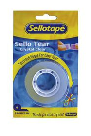 Sellotape Sello Tear Clear Tape - Perforated 18mmX25m (Box of 10)