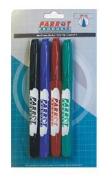 Parrot Marker Wet-Erase Fine Carded 4 - Assorted