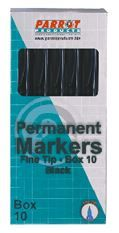 Parrot Marker Permanent Fine Box 10 - Black