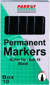 Parrot Permanent Marker Bullet Tip - Black (Box of 10)