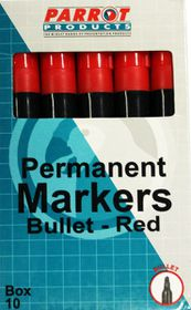 Parrot Permanent Marker Bullet Tip - Red (Box of 10)