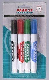 Parrot Whiteboard Marker Bullet Tip (Pack of 4 Assorted)