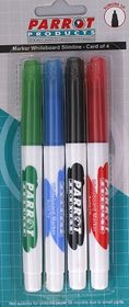 Parrot Whiteboard Marker Slimline (Pack of 4)