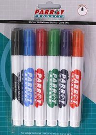 Parrot Whiteboard Marker Bullet Tip (Pack of 6 Assorted)