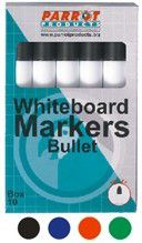 Parrot Whiteboard Marker Bullet Tip - Black (Box of 10)