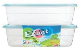 Lock and Lock - EZ Lock - 2 Piece Rectangular Container Set - Blue - 2.7 Litre