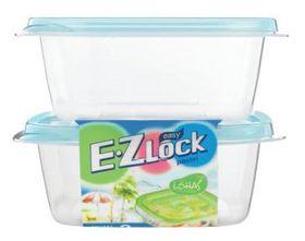 Ez Lock - 2 Piece Square Container Set - Blue - 610ml