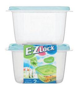Lock and Lock - EZ Lock - 2 Piece Square Container Set - Blue - 970ml