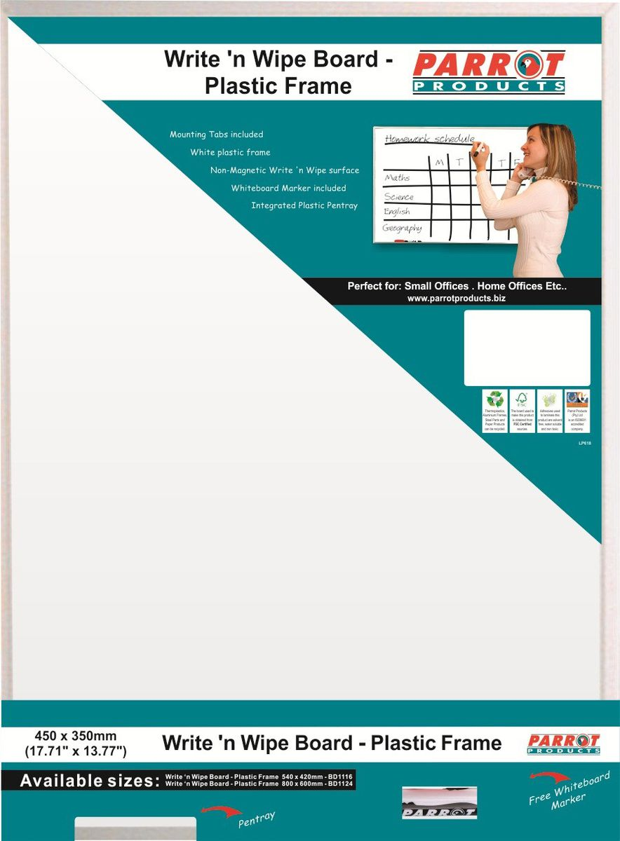 Parrot Products Parrot Write \'n Wipe Board With Plastic Frame - 450 ...