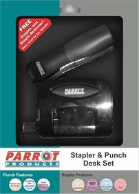 Parrot Stapler and Punch Plastic Desk Set - Black