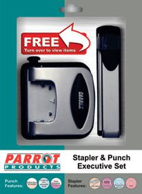 Parrot Stapler and Punch Executive Steel Set - Silver