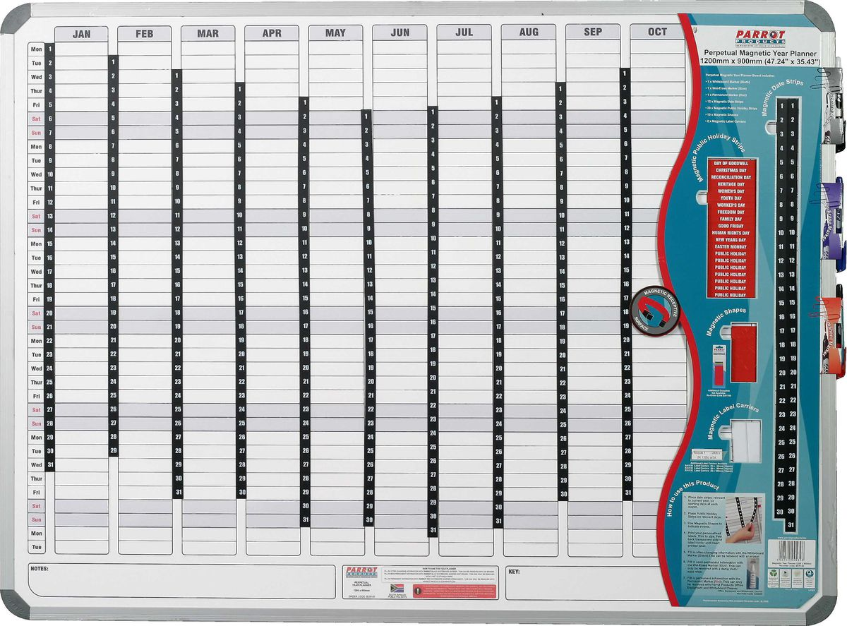 Parrot Products Parrot Perpetual Year Planner - 1500mm X 1200mm ...