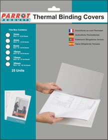 Parrot 2mm Thermal Binding Cover - White & Clear (25 Pack)