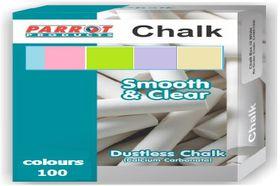 Parrot Chalk Dustless Box - 100 Assorted