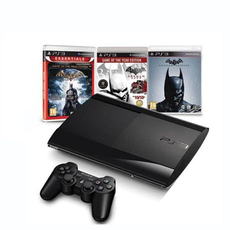 PlayStation 3 Console 500GB + 1 x Controller + Batman Arkham City GOTY +  Arkham Asylum GOTY (ESS) + Batman Arkham Origins (PS3)