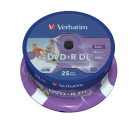 Verbatim 8.5GB DVD+R (8x) Double Layer Printable Spindle - Pack of 25
