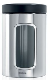 Brabantia - Window Canister With Lid - 1.4 Litre - Black and Brilliant Steel