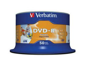 Verbatim DVD-R Wide Printable 16X 4.7GB - Spindle (50 Pack)