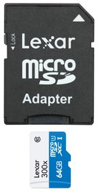 Lexar 64GB 300x Micro SD Card with SD Adapter
