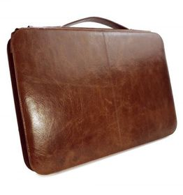 "Tuff-Luv 15"" Vintage Genuine Leather Briefcase Attache Cover - Brown Olive Striped"