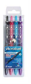 Pilot Acroball Medium Ballpoint Pens - Wallet of 4 Fashion Colours