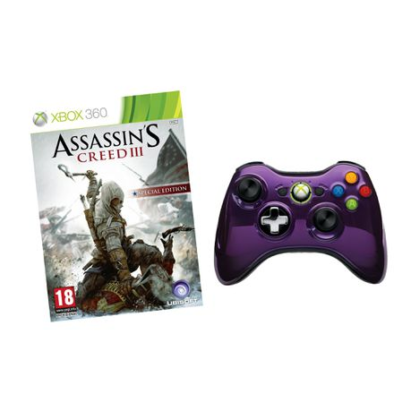 Official Xbox 360 Wireless Controller Chrome Purple Assassins