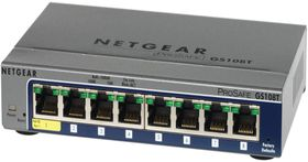 Netgear GS108T, 8-port, Gigabit Ethernet, full-duplex, QoS, 128KB, 560g