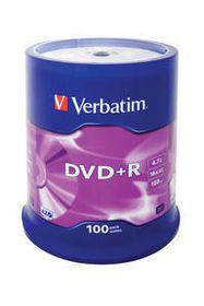 VERBATIM - 4.7GB DVD+R (16X) - MATT SILVER, SPINDLE (PACK OF 100)