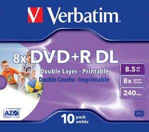 Verbatim - 8.5bg Dvd+r (8x) - Double Printable, Jewel Case (pack Of on
