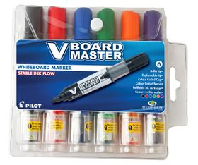 Pilot V Board Master Whiteboard Markers - Wallet of 6 Colours