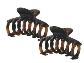 Chic 6cm Round Tooth Hair Clamp 2 Pack - Tortoise Shell