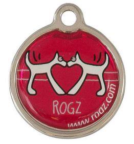 Rogz ID Tagz Small Metal Tag, Red Heart Design