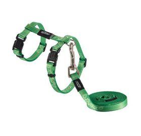 Rogz - KiddyCat 8mm Cat Lead/H-Harness - Lime Paws
