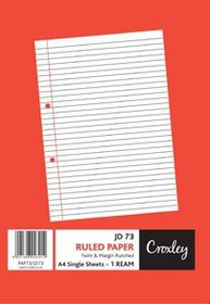 Croxley JD73 F&M Ruled Paper A4 Single Sheets Punched - 1 Ream