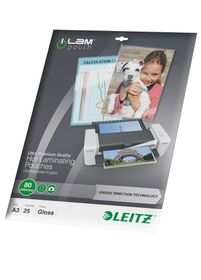 Leitz iLAM UDT Glossy A3 80micron Laminating Pouches (25 Pack)