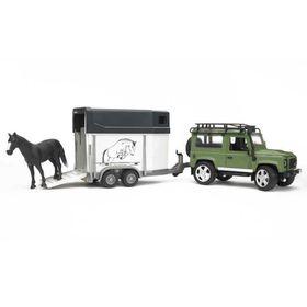 Bruder Land Rover Defender Station Wagon with Trailer & Horse