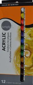 Daler-Rowney Simply Acrylic Colour - 12 x 12ml Set
