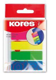 Kores Film Index Strips - 5 Neon Colours (5 x 25 Sheets)