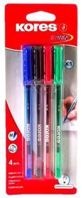 Kores K1 Triangular Ballpoint Pens - Assorted (Blister of 4)