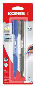 Kores K6 Triangular Retractable Ballpoint Pens - Blue & Black (Blister of 2)