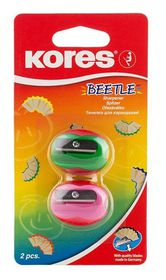Kores Beetle Plastic Single Hole Sharpener (Blister of 2)