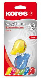 Kores Coloured Scooter Dry Correction Tape - Pack of 2 (5m x 4.2mm)