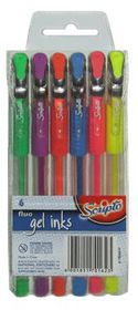 Scripto Fluo Gel Ink Pens (Wallet of 6 Colours)