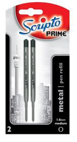 Scripto Prime Metal Refill Medium Black Ink (Blister of 2)