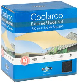 Coolaroo - Extreme Shade Sail Square 3.6m- Charcoal