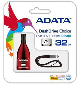 Adata 32GB UC500 USB 2.0 Flash Drive - Red